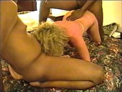 Mature White wife pleasing two big black cocks in motel Thumb