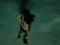 Girlfriends's backyard swimming pool underwater strip tease Thumb
