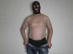 BDSM Bondage Cock & Balls, all tied up man. Torture with jerking off and cumshot. Male. Thumb