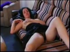 Sexy Chick Masturbating on the Sofa For Her Date Thumb