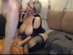 Naughty wife with huge natural tits sucks and fucks while husband gone Thumb