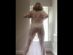 Annabel's white sheer lace dress Thumb