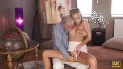 OLD4K. Young college girl comes to old teachers house for sex Thumb