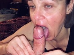 POV Mature wife sucking off a big cummer! Thumb