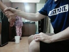 Crazy girlfriend gives a handjob when her mom is cooking in the kitchen! Thumb
